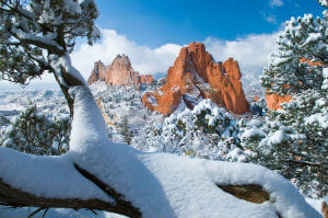 snow at garden of the gods